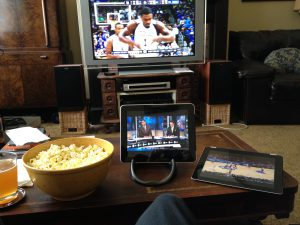 Watching March Madness in my living room on the TV and two iPads