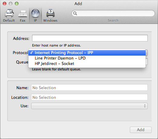 Choose a network protocol for an IP printer